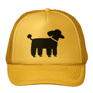 Gráfico negro del perro de caniche gorros bordados