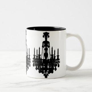 Gráfico negro y blanco de la lámpara del vintage taza de dos tonos