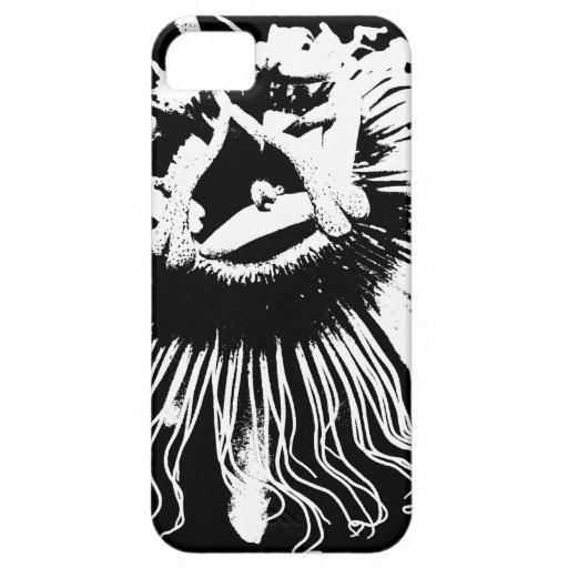 Gráfico negro y blanco de una flor de la pasión funda para iPhone 5 barely there