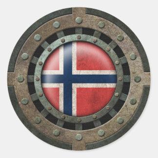Gráfico noruego de acero industrial del disco de etiquetas redondas