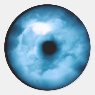 Gráfico nublado azul claro del ojo etiquetas redondas