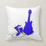 Gráfico plano azul estilizado de la guitarra n amp almohadas