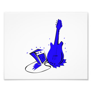 Gráfico plano azul estilizado de la guitarra n amp impresiones fotográficas