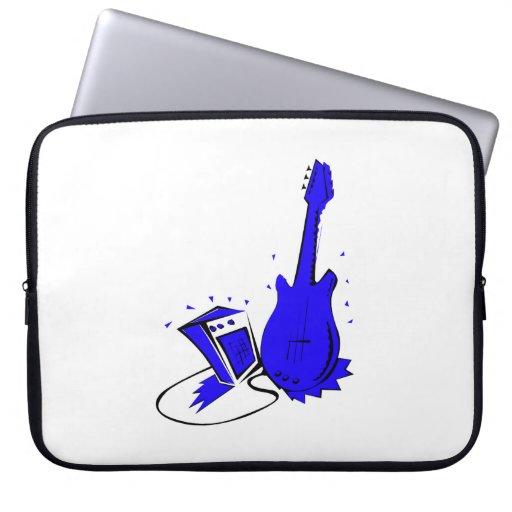 Gráfico plano azul estilizado de la guitarra n amp mangas computadora