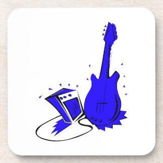 Gráfico plano azul estilizado de la guitarra n amp posavasos de bebida
