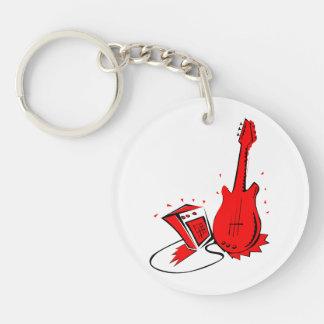 Gráfico plano rojo estilizado de la guitarra n amp llavero redondo acrílico a doble cara