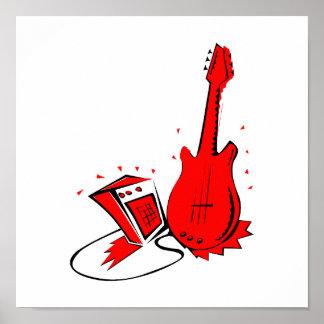 Gráfico plano rojo estilizado de la guitarra n amp impresiones