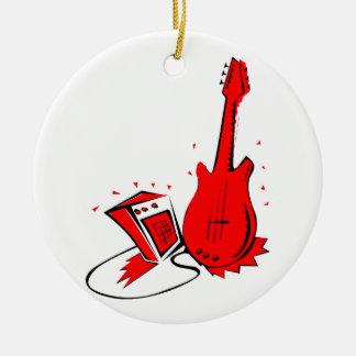 Gráfico plano rojo estilizado de la guitarra n adorno redondo de cerámica