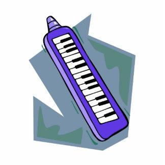 Gráfico portátil azul del piano del teclado 80s de escultura fotografica