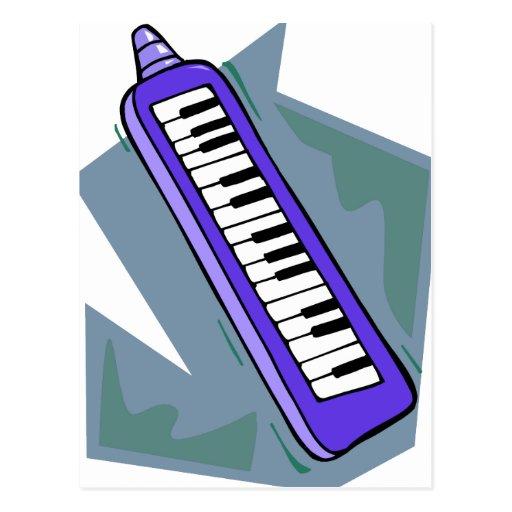 Gráfico portátil azul del piano del teclado 80s de tarjeta postal