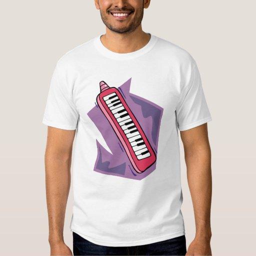Gráfico portátil rosado del piano del teclado 80s playera