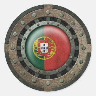 Gráfico portugués de acero industrial del disco de pegatina redonda
