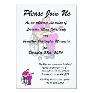 gráfico purple.png de la silla de ruedas del invitación 12,7 x 17,8 cm