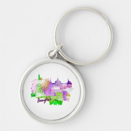 gráfico púrpura copy.png de la ciudad del viaje de llavero redondo plateado
