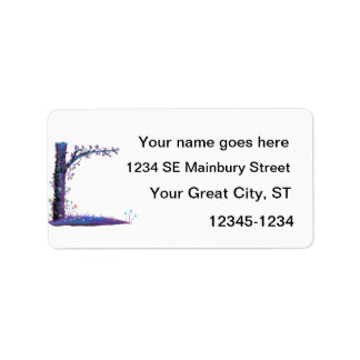 Gráfico púrpura del bonito del lado izquierdo de etiquetas de dirección