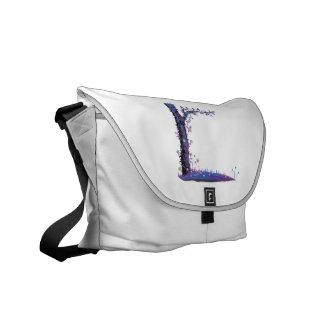 Gráfico púrpura del bonito del lado izquierdo de l bolsas messenger