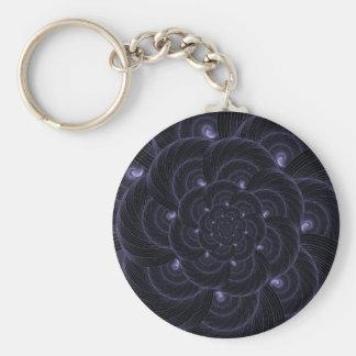 Gráfico púrpura oscuro de la flor. Espiral Llavero Personalizado