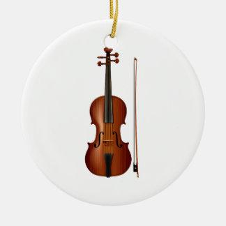 Gráfico realista del violín y del arco adorno navideño redondo de cerámica