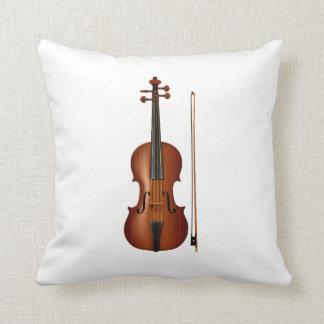 Gráfico realista del violín y del arco cojin