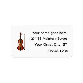 Gráfico realista del violín y del arco etiqueta de dirección