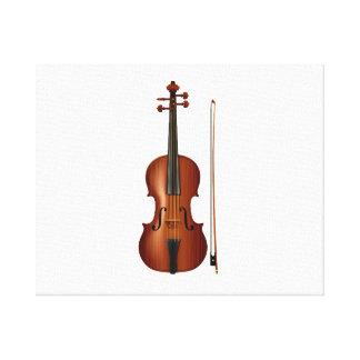 Gráfico realista del violín y del arco impresión en lienzo