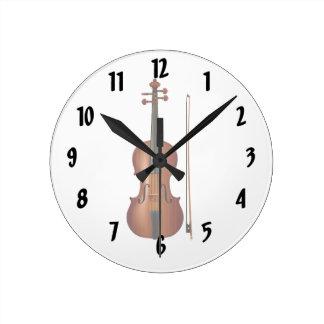 Gráfico realista del violín y del arco reloj de pared