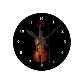 Gráfico realista del violín y del arco reloj redondo mediano