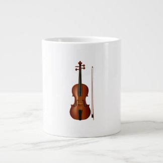 Gráfico realista del violín y del arco taza extra grande