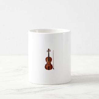 Gráfico realista del violín y del arco taza de café