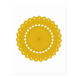 Gráfico redondo amarillo de la mostaza tarjetas postales