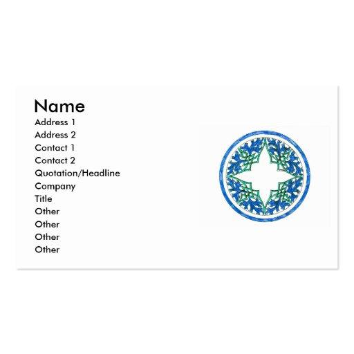 gráfico redondo del victorian azul y verde plantilla de tarjeta de negocio