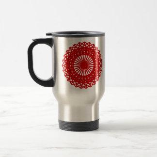 Gráfico redondo rojo del modelo del cordón tazas de café