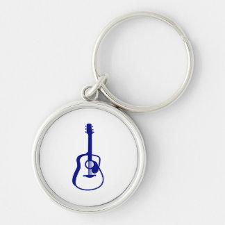 gráfico resumido blue.png de la guitarra llavero redondo plateado