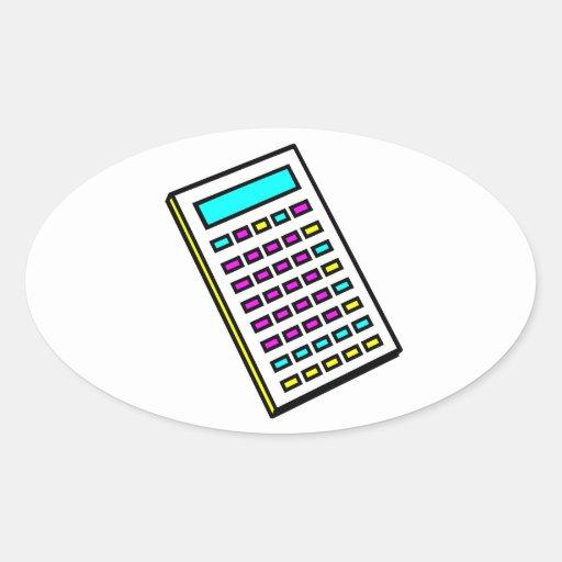 Gráfico retro de la calculadora de CMYK Pegatina Ovalada
