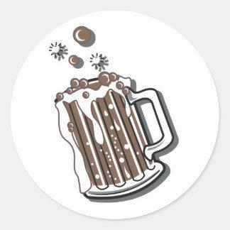 gráfico retro de la cerveza de raíz del estilo pegatina redonda