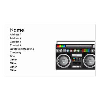 gráfico retro del arenador del ghetto del boombox tarjetas de visita