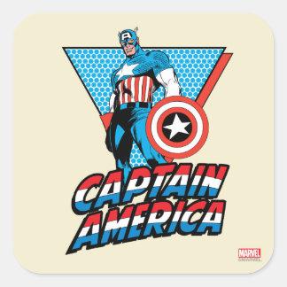 Gráfico retro del carácter de capitán América Pegatina Cuadrada