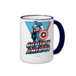 Gráfico retro del carácter de capitán América Taza De Café