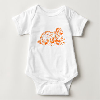 Gráfico retro del naranja del cordero del bebé t shirts