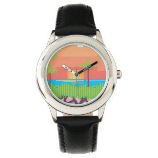 Gráfico retro del videojuego de los años 80 relojes