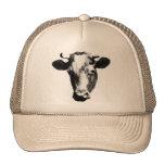 Gráfico retro negro y blanco de la vaca gorras de camionero