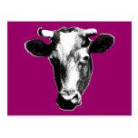 Gráfico retro negro y blanco de la vaca tarjeta postal