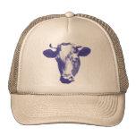 Gráfico retro púrpura de la vaca gorro