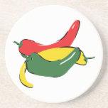 Gráfico rojo de la pimienta de chile del verde ama posavasos personalizados