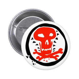gráfico rojo del cráneo con el círculo negro pin redondo de 2 pulgadas