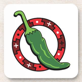 Gráfico rojo Image.png del anillo del chile verde Posavasos De Bebidas