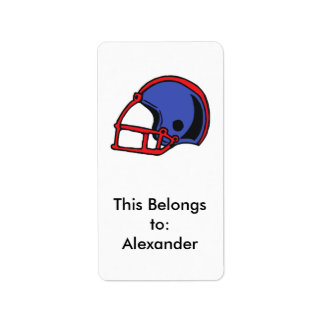 gráfico rojo y azul del casco de fútbol americano etiqueta de dirección