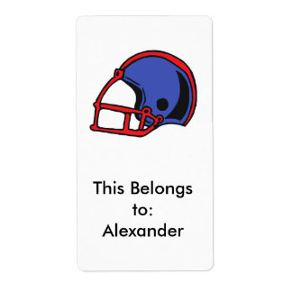 gráfico rojo y azul del casco de fútbol americano etiqueta de envío
