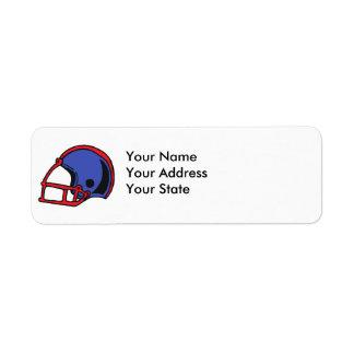 gráfico rojo y azul del casco de fútbol americano etiquetas de remite