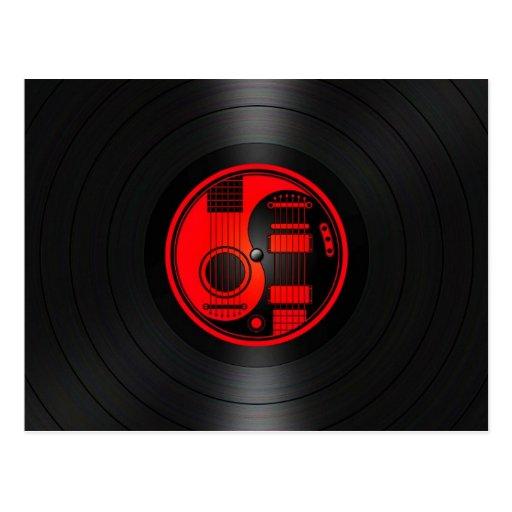 Gráfico rojo y negro del vinilo de las guitarras d tarjeta postal